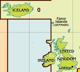 Zeitzone Karte von Island.