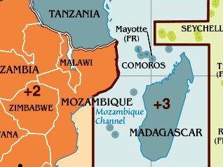 Time zone map of Madagascar.