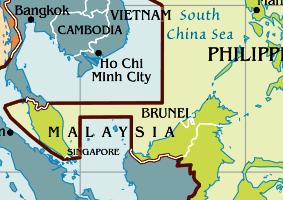 Zeitzone Karte von Singapur.