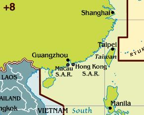 Zeitzone Karte von Taiwan.