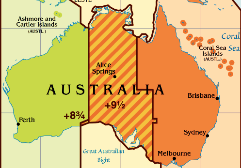 Australia Map Time Zones.Time Difference With Australia