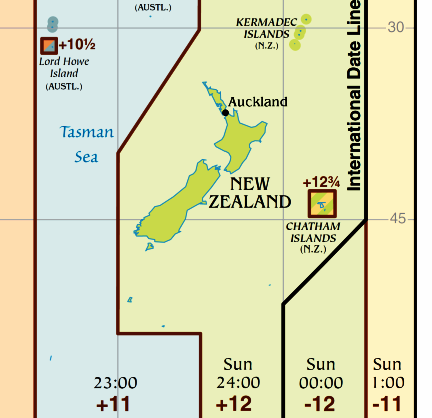 Time zone map of New Zealand.