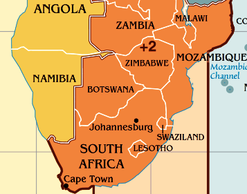 Time Difference With Botswana WorldTimeZonesru - Namibia time zone map