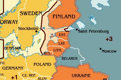 Zeitzone Karte von Vilnius.