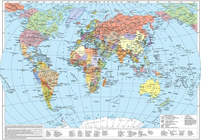 Карта мира с широтами на русском языке