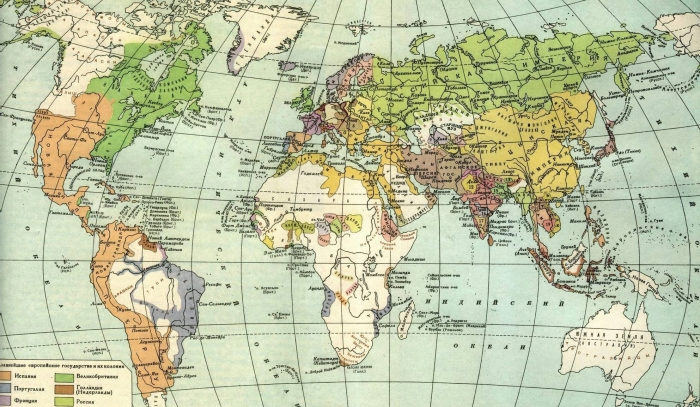 Карта мира середины 18 века