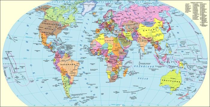Карта мира в хорошем качестве на русском языке