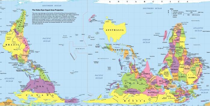 Перевёрнутая политическая карта мира в Австралии