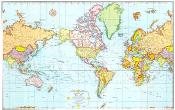 Карта мира в Америке