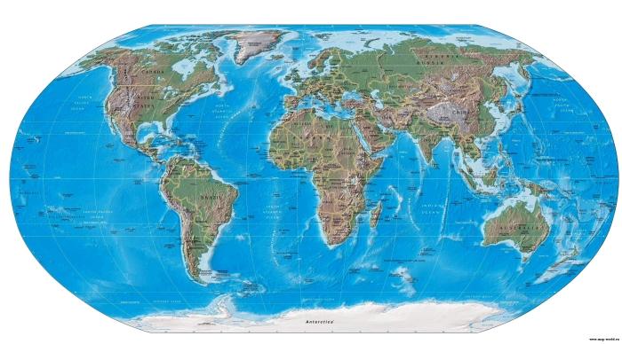 Рельефная карта мира