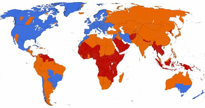 Карта стран переходящих на летнее время